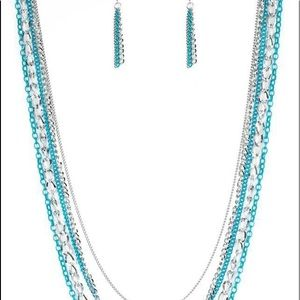 Long necklace and earrings